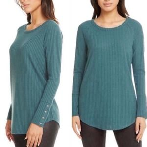 NWT Chase Waffle Knit Button Cuff Thermal Top